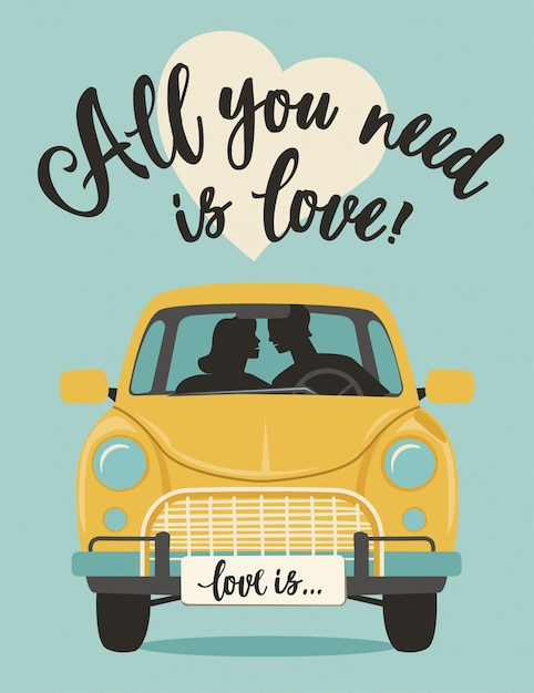 Valentines day lettering romantic greeting vector card. all you need is love. Premium Vector