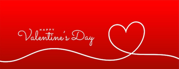 Valentines day line heart red banner Free Vector