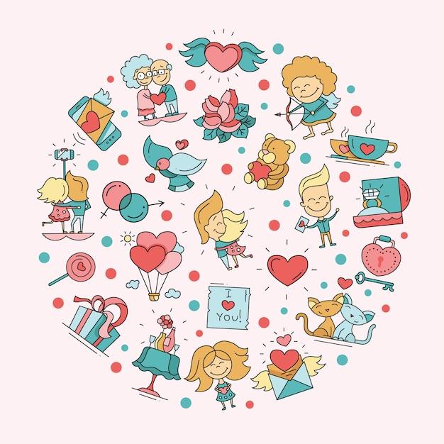 バレンタインデーの愛とロマンスのアイコンはがき Premiumベクター