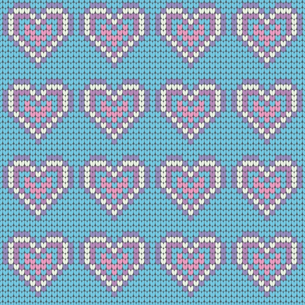 Valentines Day love heart knitted seamless pattern Vector | Premium ...