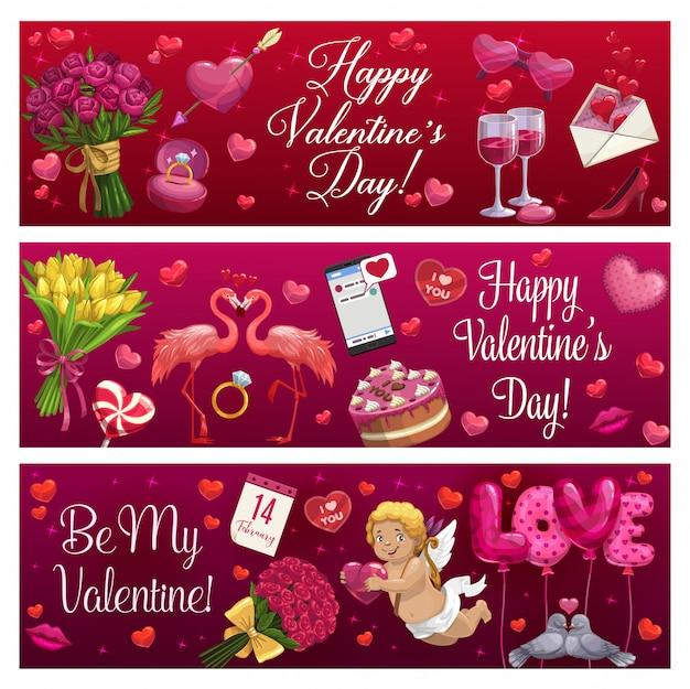 День святого валентина люблю праздник сердца, подарки и кольцо Premium векторы