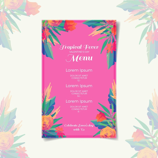 Valentines day menu template concept Free Vector