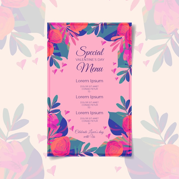 Valentines day menu template design Free Vector