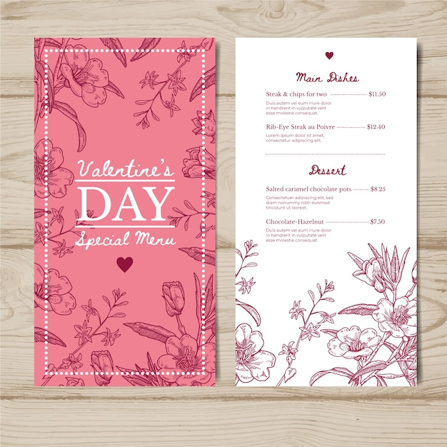 Valentines day menu template draw Free Vector