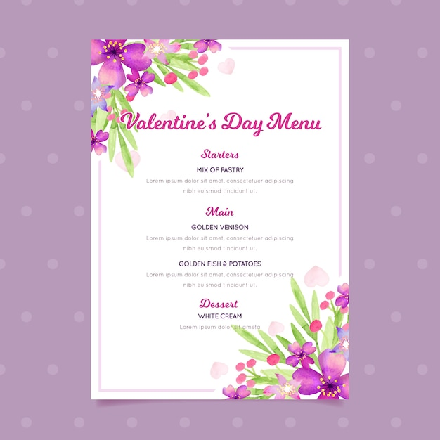 Valentines day menu template in watercolor concept Free Vector