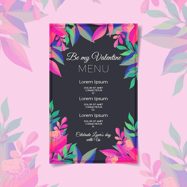 Valentines day menu template on watercolor Free Vector