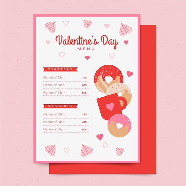 Valentine's Day Menu Template from image.freepik.com