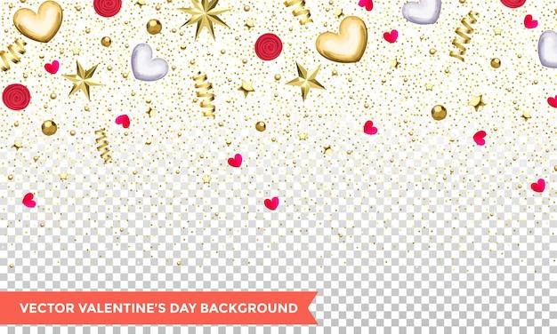 하트와 골드 반짝이 색종이 또는 투명 한 배경에 꽃의 발렌타인 데이. 프리미엄 벡터