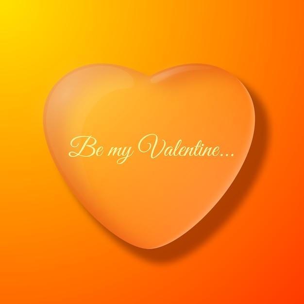 大きなハートのシルエットフラットベクトルイラストとバレンタインデーオレンジ色の背景 無料ベクター