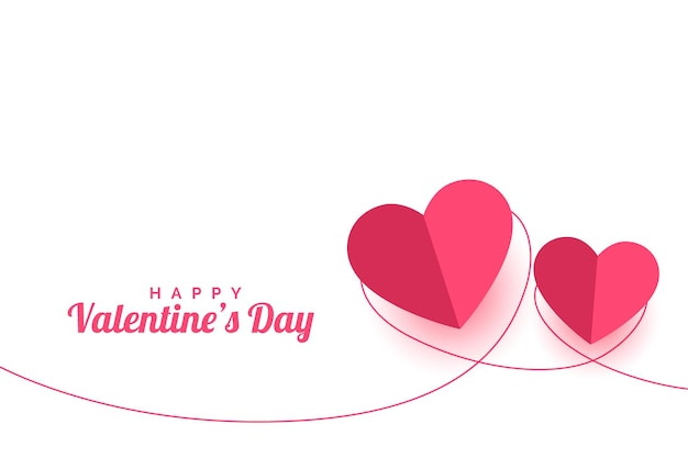 Valentines day paper style greeting card design Free Vector