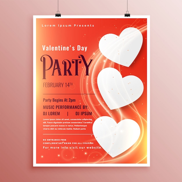 Valentines day party event flyer with light glowing wave Free Vector