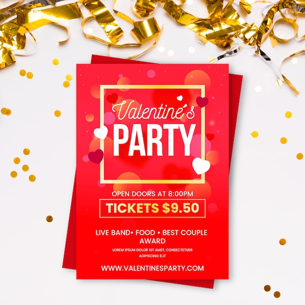 Valentines day party flat flyer template Free Vector
