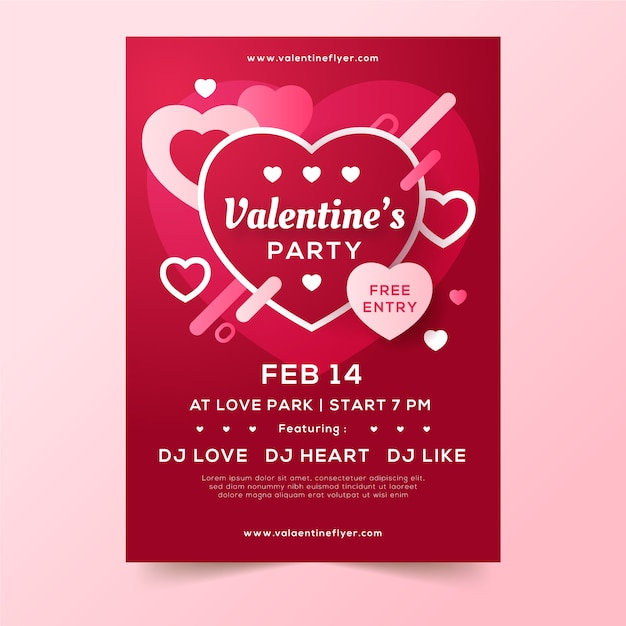 Valentines day party flyer template Free Vector