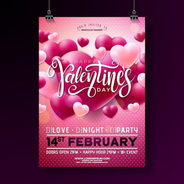 Valentines day party flyer Premium Vector