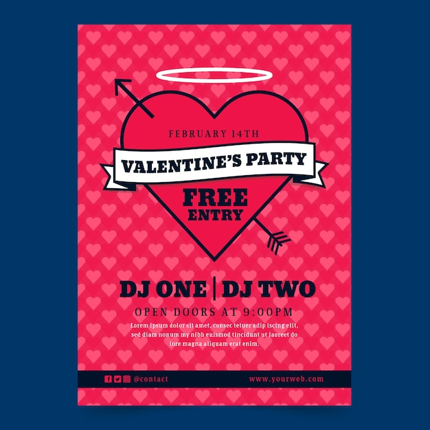 Valentines day party poster concept Free Vector