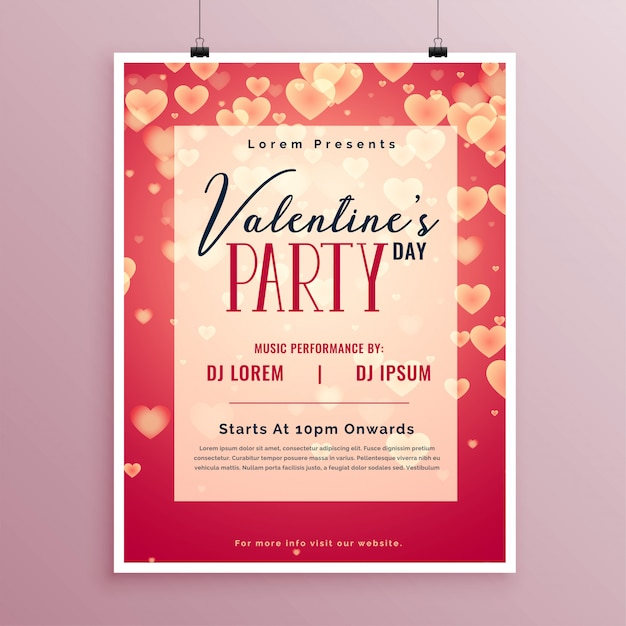 Valentines day party poster design Free Vector