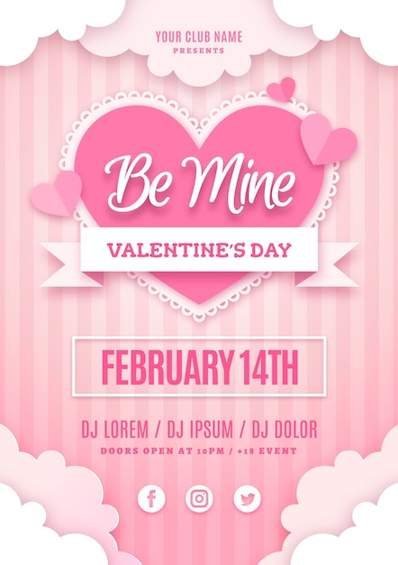 Valentines day party poster template in paper style Free Vector