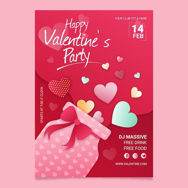 Valentines day party poster template Free Vector