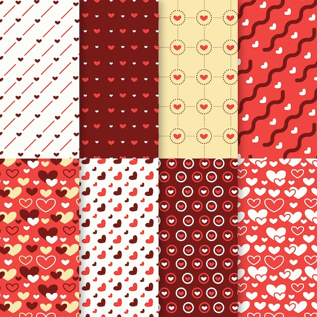 Valentines day pattern collection in flat design Free Vector