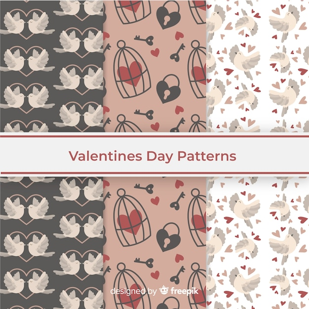 Valentines day pattern collection theme Free Vector