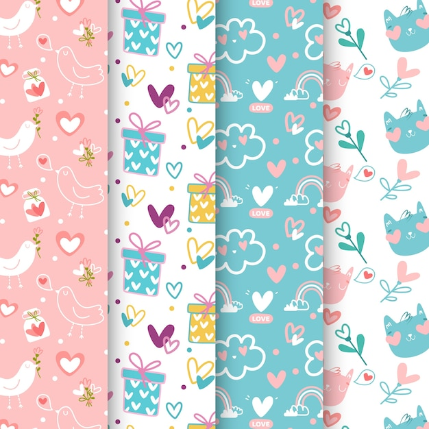 Valentines day pattern collection Free Vector