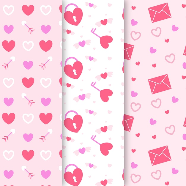 Valentines day pattern set in flat design Free Vector
