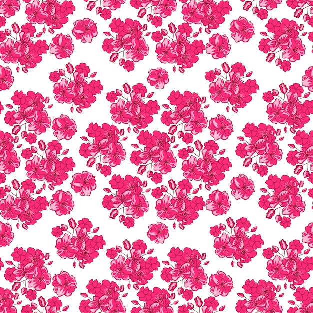Valentines day pattern with  japanese cherry blossom Free Vector