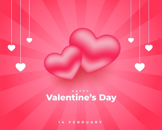 Valentines day pink with 3d hearts design Free Vector