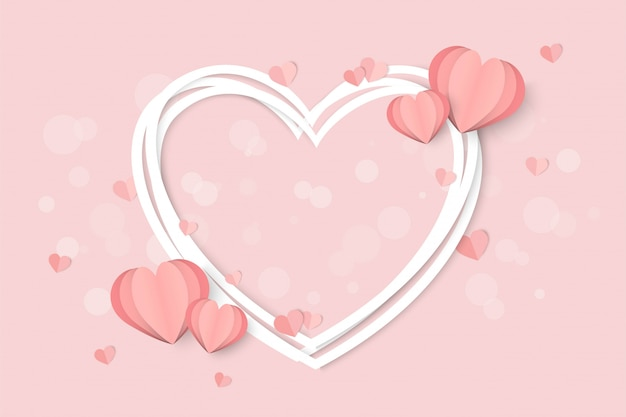 Valentines day pink with heart shape Premium Vector
