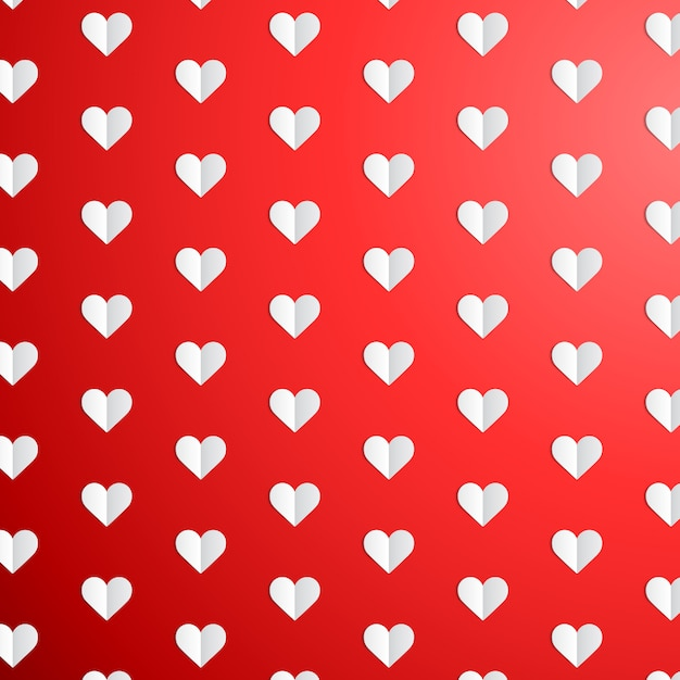 Valentines day polka dot pattern with paper hearts Premium Vector