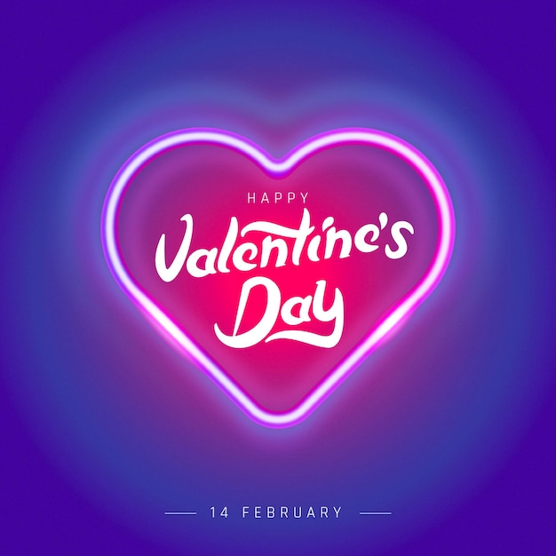 Valentines day poster with neon light hearts background. Premium Vector