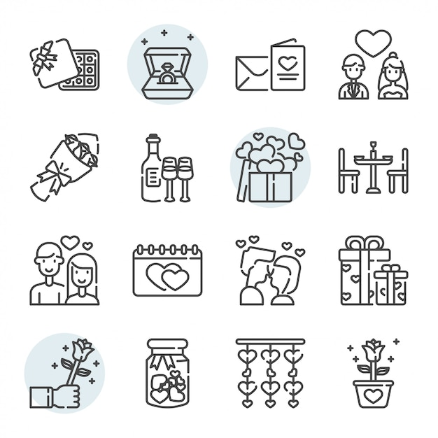 Valentines day related icon and symbol set Premium Vector
