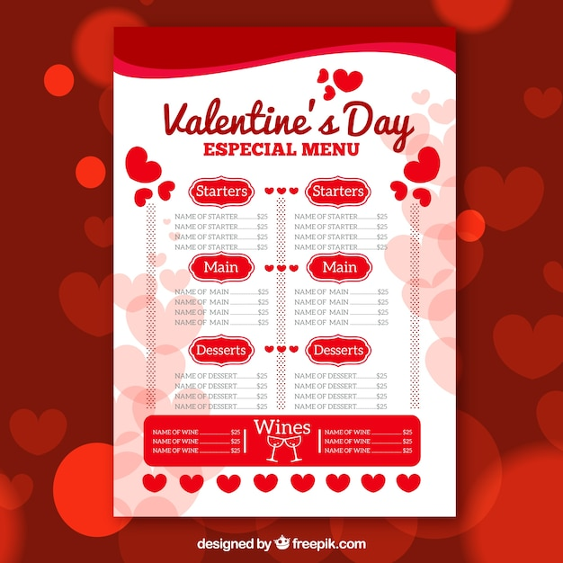 valentines day restaurant menu vector | free download, Ideas