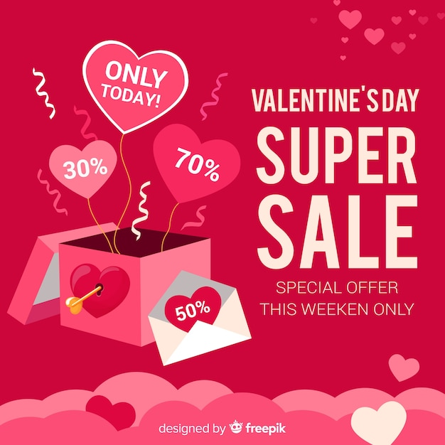 Valentines day sale background Free Vector