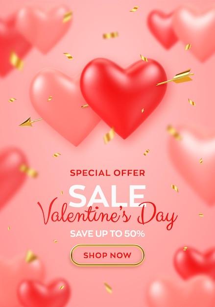 День святого валентина продажа баннер. пара реалистичных 3d красных и розовых воздушных шаров в форме сердца, пронзенных золотой стрелой амуров и конфетти. Premium векторы
