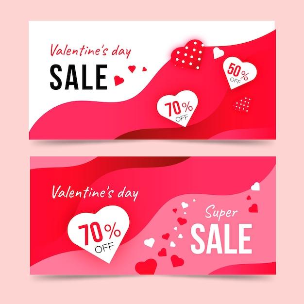 Valentines day sale banner design Free Vector