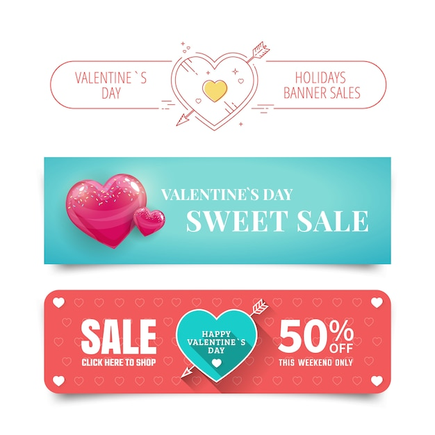 Valentines day sale banners with heart Premium Vector