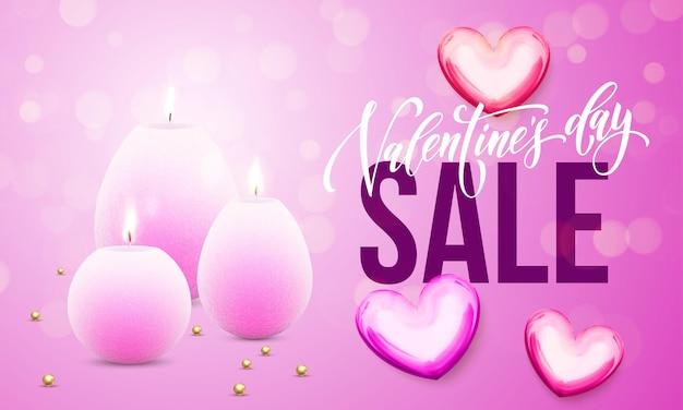 프리미엄 핑크 반짝이 스파클링 조명 배경에 하트와 촛불의 발렌타인 데이 판매 카드 프리미엄 벡터