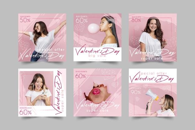 День святого валентина продажа instagram пост коллекция Бесплатные векторы