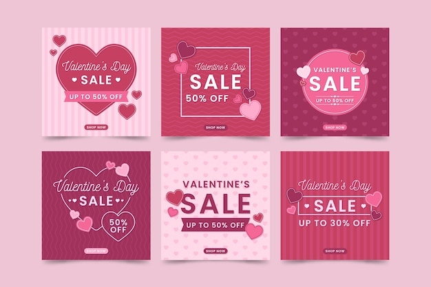 Valentines day sale instagram post collection Free Vector