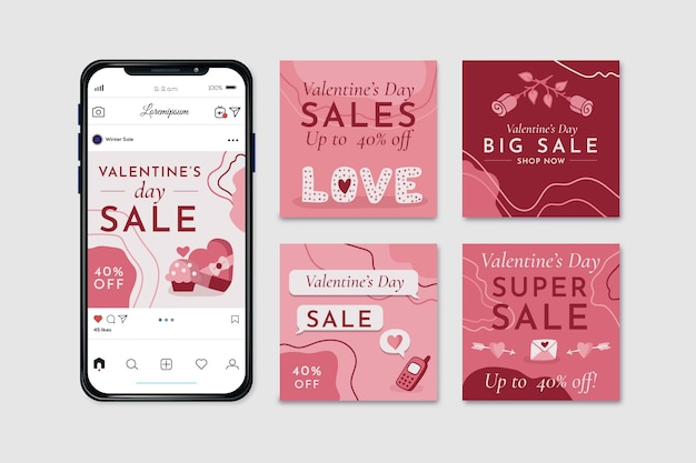 Valentines day sale instagram post set Free Vector