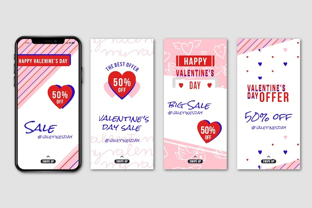 Valentines day sale instagram story collection Free Vector