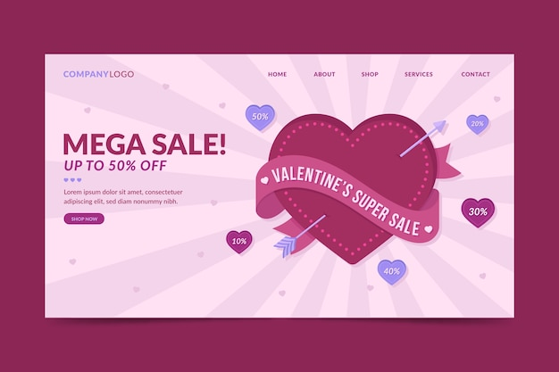 Valentines day sale landing page template Free Vector