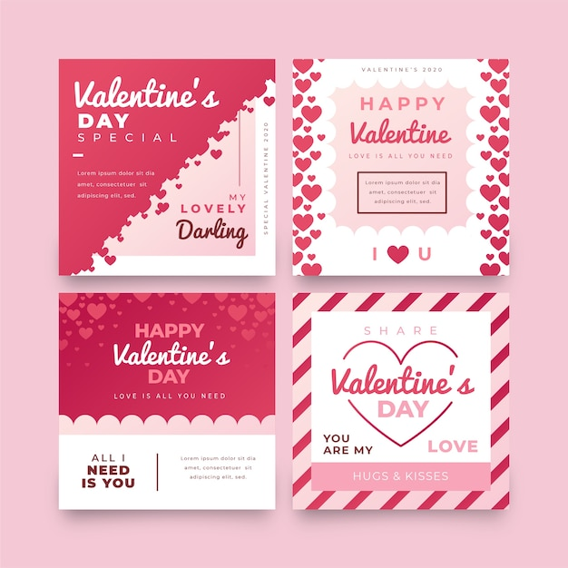 Valentines day sale post collection Free Vector