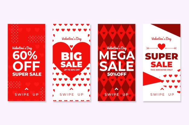 Valentines day sale story collection Free Vector