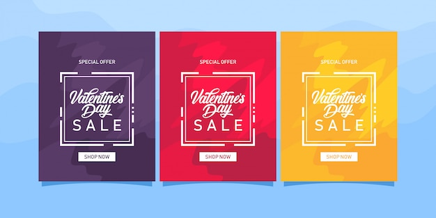 Valentines day sale template Premium Vector
