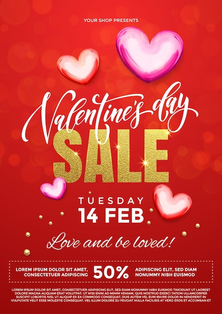 프리미엄 레드 반짝이 반짝 빛 배경에 마음의 발렌타인 데이 판매 벡터 포스터 프리미엄 벡터