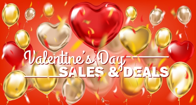 Valentines day sales and deals red gold banner with metallic balloons Premium Vector
