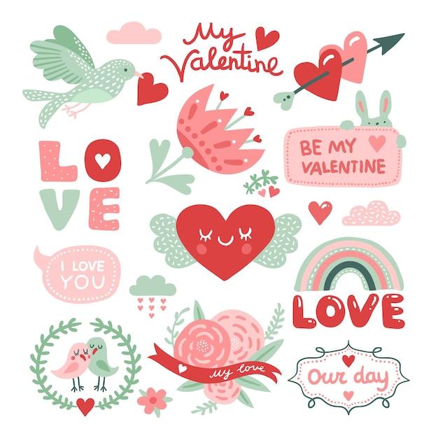 Альбом для вырезок дня святого валентина. птица с красным сердцем, цветами и любовными надписями, милые наклейки кролика. элементы декоративного дизайна вектора. любовь и сердце, праздник романтического дня иллюстрация Premium векторы