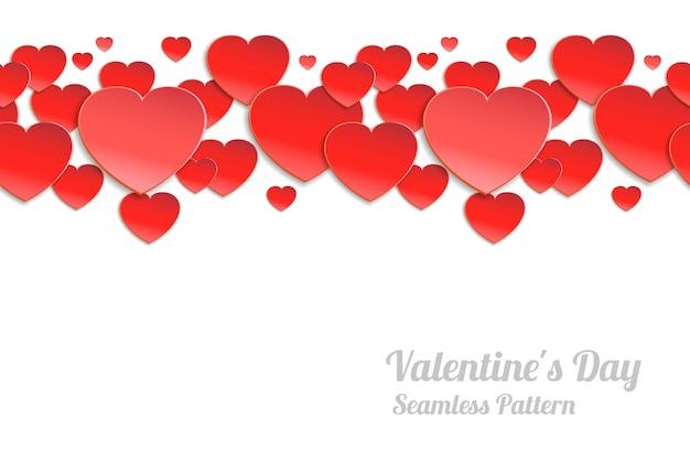 День святого валентина бесшовные горизонтальный узор. красные бумажные сердечки на белом фоне Бесплатные векторы
